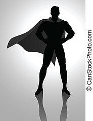 Superhero - Silhouette illustration of a superhero posing