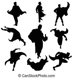 superhero, silhouette, set