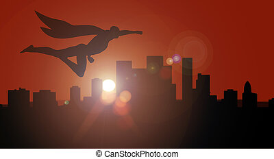 Superhero silhouette side view flying over city at sunset or sunrise overwatching for security and defense the city from crime