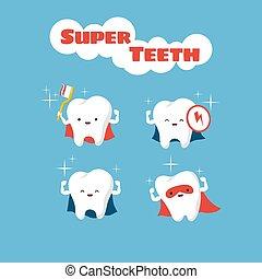 Superhero smiling kids teeth vector characters