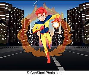 superhero, sobre el calle, en la ciudad