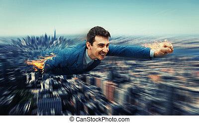 superhero, sopra, città