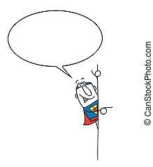 Superhero speaks beside his signboard - Joe, the superhero ...