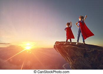 superhero, spielende kinder