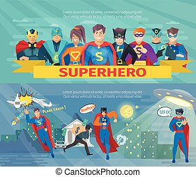 superhero, squadra, bandiere, set