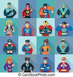 Superhero Square Icons Set - Superhero square shadow icons...