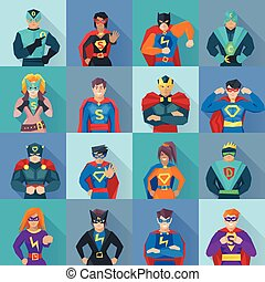 Superhero Square Icons Set