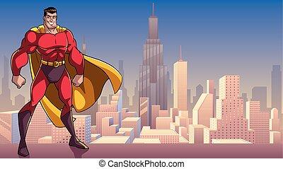 superhero, standing, alto, in, città