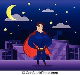 Superhero standing on roof at night