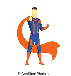 Superhero standing with cape waving in the wind. Showing gesture like. Pop art comic book style superhero vector poster design wall decoration illustration.