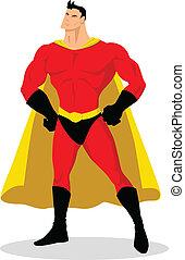 Superhero - Stock vector of cartoon superhero posing
