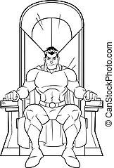 superhero, su, trono, art linea