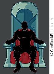 superhero, su, trono, silhouette