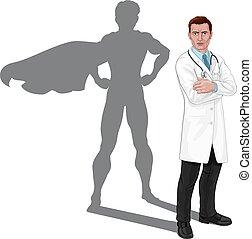 superhero, super, docteur, ombre, héros, concept