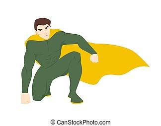 Superhero, superhuman or superman. Attractive man with ...