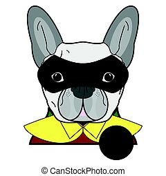 Superhero symbol  as  a French bulldog  character in red, green  and yellow covered with a cape and mask covering face