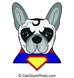 Superhero symbol  as  a French bulldog  character in red, yellow, blue with a cape and yellow diamond symbol