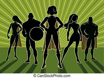 Conceptual illustration depicting team of superheroes.