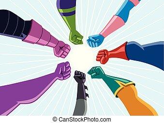 Superhero Team Assemble - Conceptual illustration depicting...