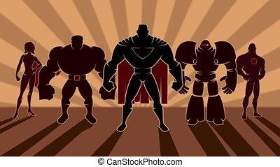 Superhero Team - Looping animation of team of superheroes ...
