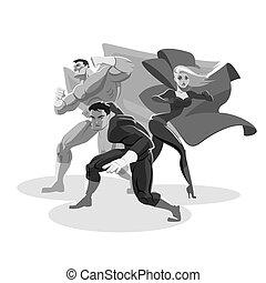 superhero, team., sguardo, around., stare in piedi, in, prontezza
