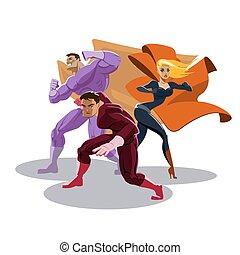 superhero, team., sguardo, around., stare in piedi, in, readiness.