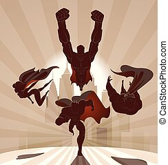 superhero, team;, squadra, di, superheroes, volare, e, correndo, davanti, uno, urbano, fondo.