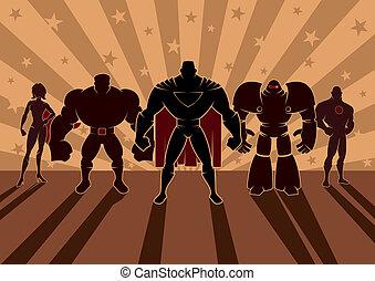 Superhero Team - Team of superheroes. No transparency and ...
