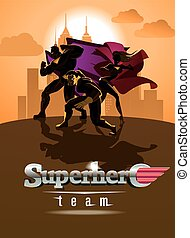 Superhero Team; Team of superheroes, posing in front of a light.