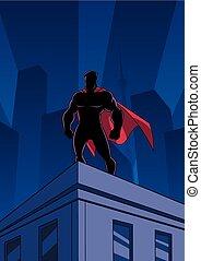 superhero, techo, mirar, silueta