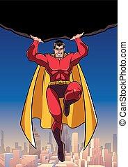 superhero, tenue, au-dessus, ville, rocher