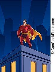superhero, tetto, osservare