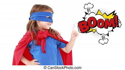 superhero, texte, contre, bulle, girl, parole, boom, déguisement, faire gestes