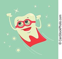 Superhero tooth character