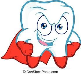 Superhero tooth posing