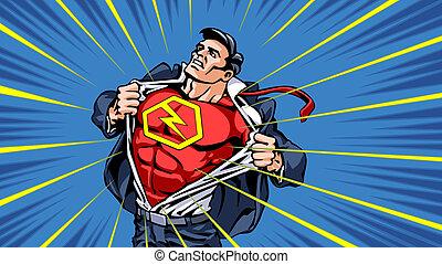 Superhero-transformation - Superhero is opening shirt to...