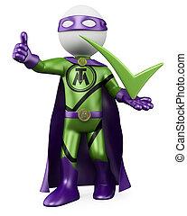superhero, tykać, -, 3d, człowiek