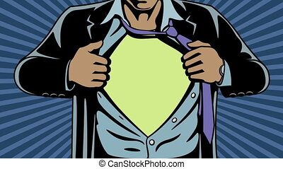 Animation of superhero revealing his true identity by tearing his shirt and jacket off. Comic book style. Add your logo on the shirt.