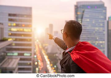 superhero, uomo affari, guardando, skyline città, a, sunset., il, concetto, di, successo, direzione, e, vittoria, in, business.