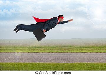 superhero, uomo affari, volare