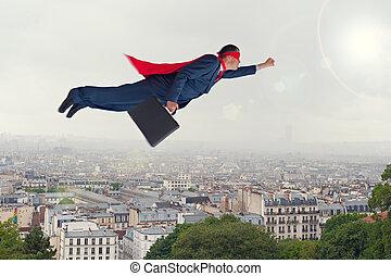 superhero, uomo affari, volare, sopra, uno, città