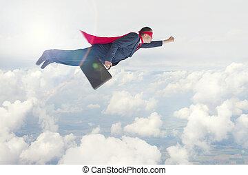 superhero, uomo affari, volo