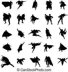 superhero, uomo, silhouette, set