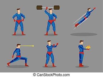 Superhero Vector Cartoon Character Set - Vector cartoon ...
