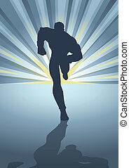 Superhero - Silhouette illustration of a muscular male...