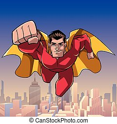 superhero, venuta, a, lei, in, città