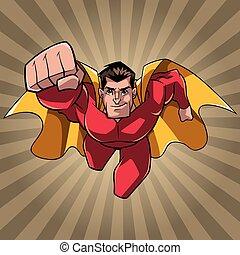 superhero, venuta, a, lei, raggio, luce, fondo