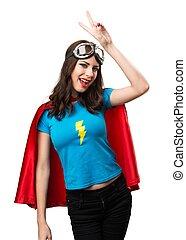 superhero, victoire, joli, confection, girl, geste