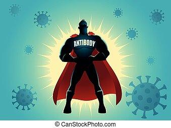 superhero, virus, contra, anticuerpo