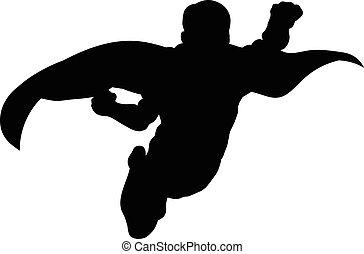 superhero, voando, silueta
